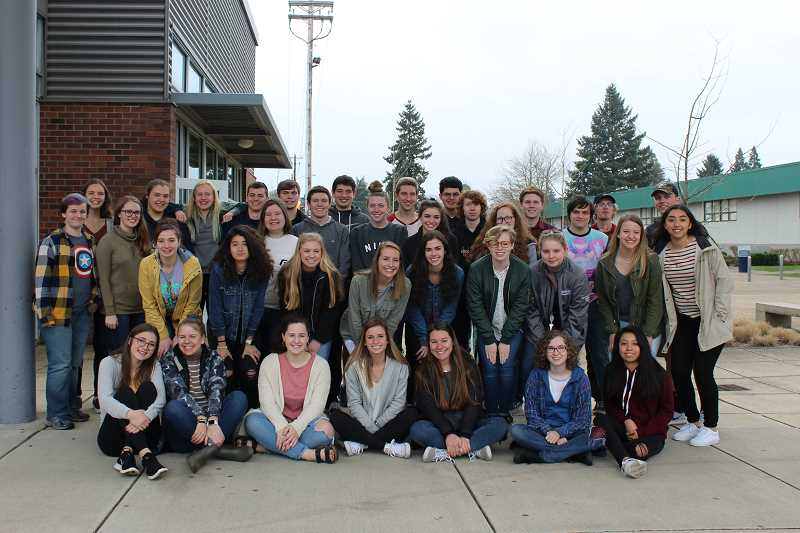 HERALD PHOTO: KRISTEN WOHLERS - Canby's National Honor Society students raised 438 books for elementary students.
