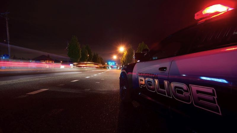 BEAVERTON POLICE PHOTO - A 23-year-old man suffered 'life threatening' injuries after the crash around 10:55 p.m. on Southwest Canyon Road in Beaverton.