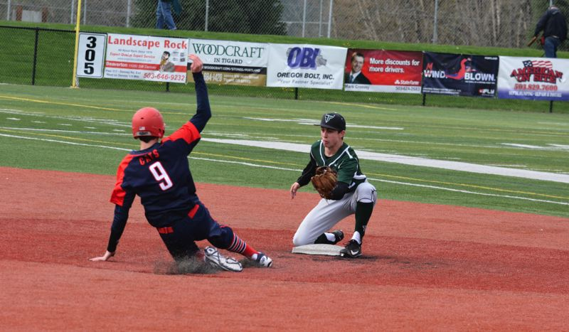 TIMES PHOTO: MATT SINGLEDECKER - Tigard second baseman Ethan Clark readies to tag out a Westview baserunner last week in non-league action.