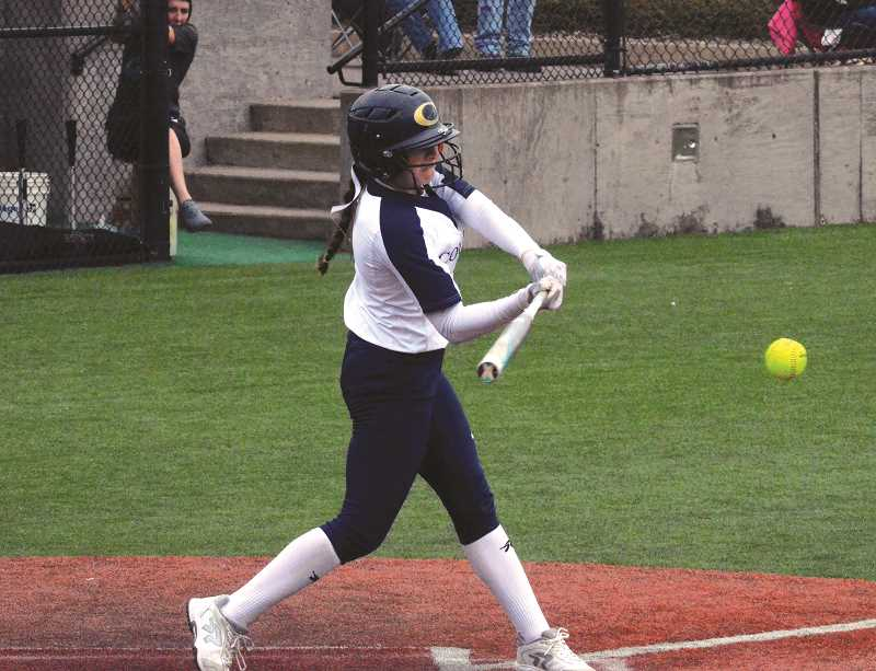 HERALD PHOTO: TANNER RUSS - Kamryn Mobley swings at a pitch against Liberty. Canby defeated Liberty High School 12-9.