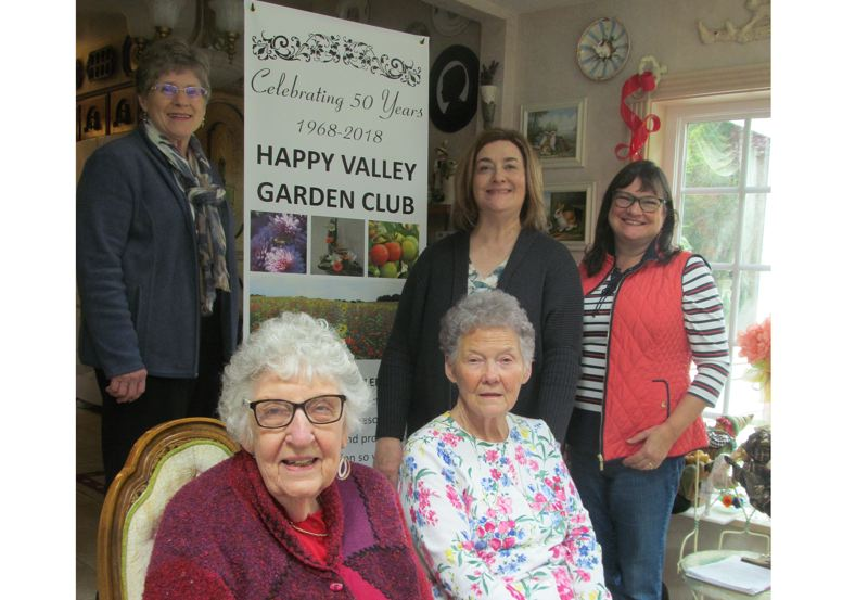 PHOTO BY ELLEN SPITALERI - Happy Valley Garden Club members pictured are, back row left to right, Sue Gilbert, Jennifer Buss and Priscilla Wells Robinson; front row, Gloria Cockburn and Leona McDonald.