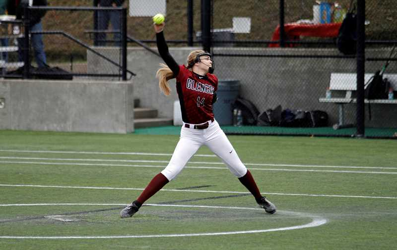STAFF PHOTO: WADE EVANSON - Glencoe's Izzy Womack winds to hurl a pitch during the Tide's 9-0 win over Banks Friday, March 30, at Hillsboro Stadium.