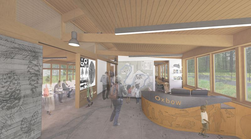 COURTESY DAO ARCHITECTURE - A new visitor center at Oxbow Regional Park will feature informational displays and materials.