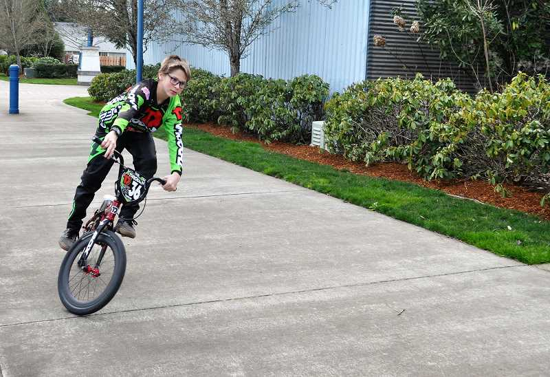 GAZETTE PHOTO: BLAIR STENVICK - Joshua Trerise will compete in the 2018 BMX World Championships this June. He's a seventh grader at Sherwood Middle School.