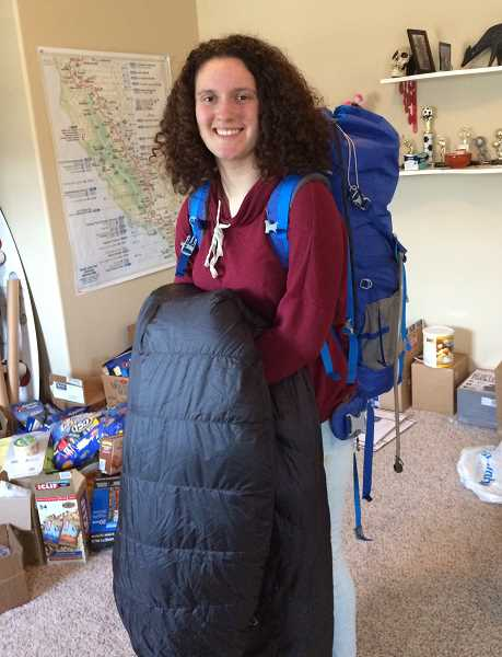 Eliza Swackhamer has been gathering her gear in preparation for hiking the Pacific Crest Trail.