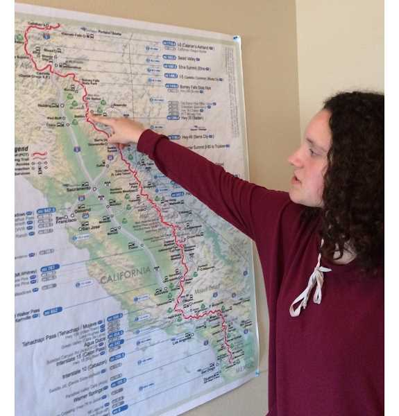 Pointing to important spots along the 2,650 miles of the Pacific Crest Trail, Eliza Swackhamer hopes to have all her bases covered.