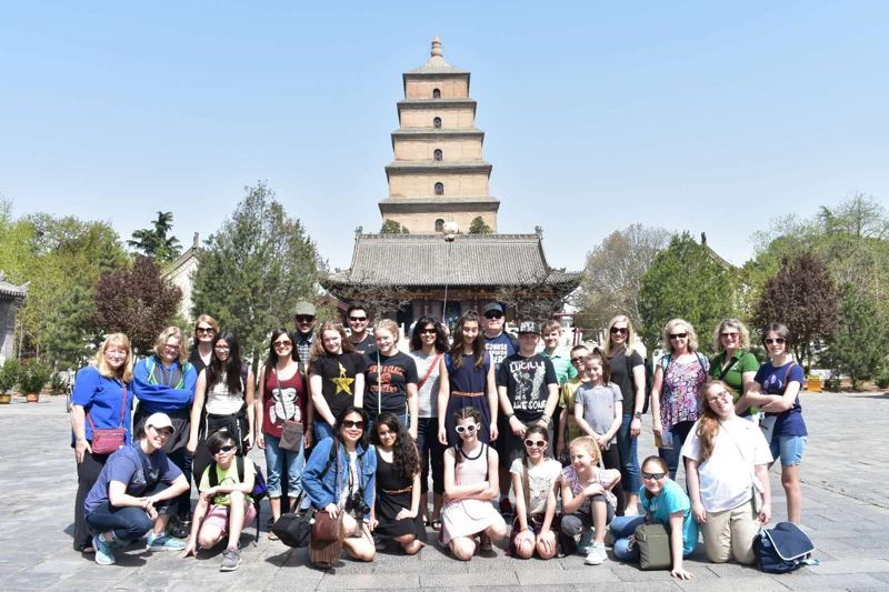 COURTESY PHOTO: FRANCESCA SINAPI  - Students visited the Giant Wild Goose Pagoda in Xi'an, China during their trip.
