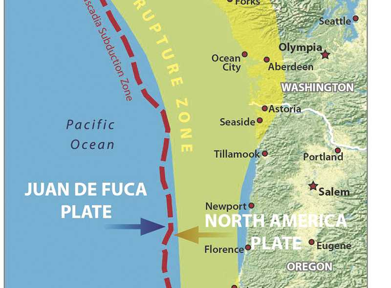 RENDERING COURTESY OF OSU - A graphic shows the tectonic rupture area along the Cascadia Subduction Zone off the northwest coast of the United States and British Columbia, Canada. When the  plates shift it will cost earthquakes and tsunamis.