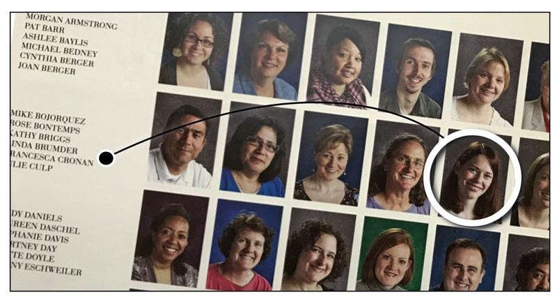TRIBUNE PHOTO: SHASTA KEARNS MOORE - The 2008-09 St. Mary's Academy yearbook shows a photo of teacher Francesca Cronan, the year she taught Ariana Garay.