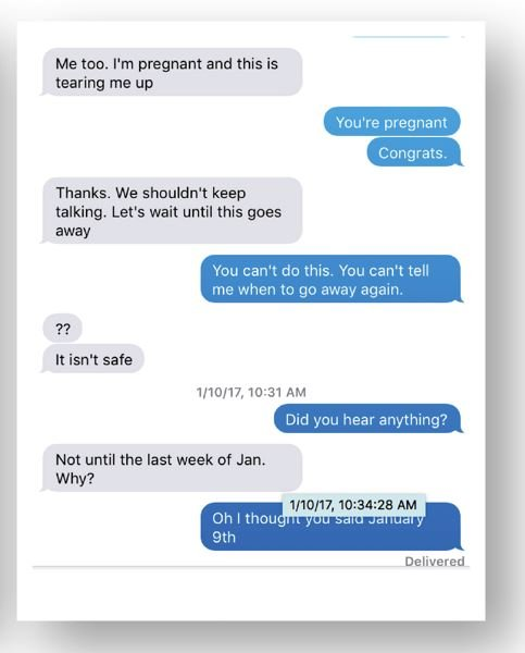 COURTESY PHOTO - Screenshots provided by Ariana Garay show a conversation over several weeks between her and Francesca Cronan after the start of the state investigation. 'We shouldn't keep talking,' Cronan writes. 'Let's wait until this goes away.'