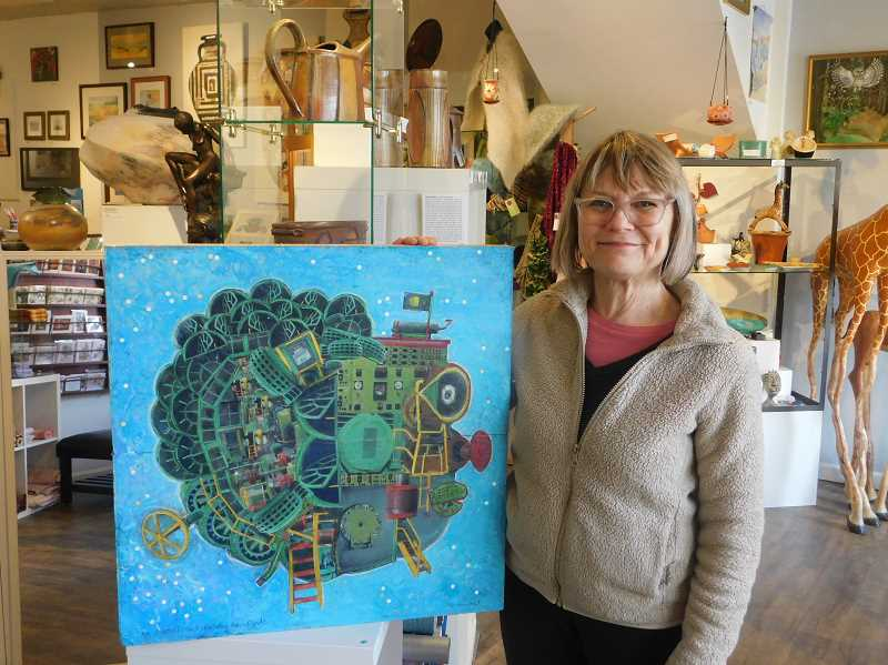 ESTACADA NEWS PHOTO: EMILY LINDSTRAND - Nina Bradford stands next to one of the pieces she created for the powerhouse project, titled 'Mr. Powerpoint, Faraday Dam Dude.' The painting will be one of several featured at the Estacada Public Library starting next week.