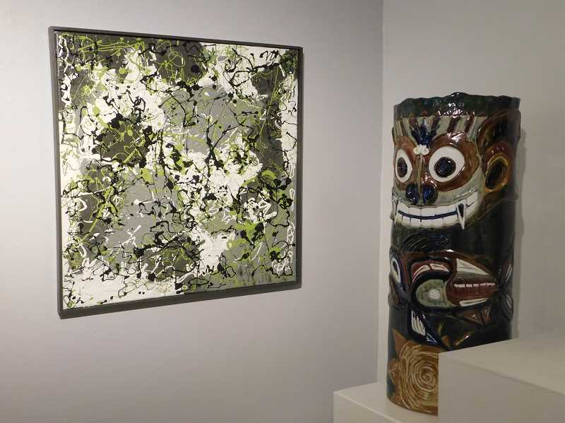ESTACADA NEWS PHOTO: EMILY LINDSTRAND - Carol Pulvermacher and De Johnsons work among the pieces featured in '3pArt Harmony' at the Spiral Gallery.