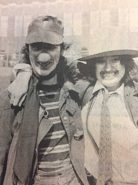ARCHIVE PHOTO - In 1978, Chuck Surfus and Hallie Brown looked festive while enforming local kids about the annual Easter egg hunt.
