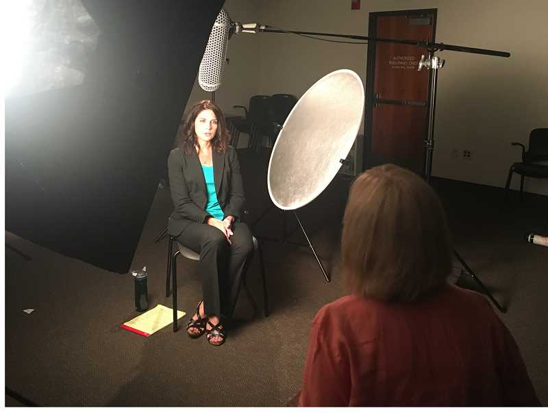 SUBMITTED PHOTO: CLACKAMAS COUNTY SHERIFFS OFFICE - Oregon Senior Assistant Attorney General Erin Greenwald takes part in an interview for a new domestic violence training video produced by the Clackamas County Sheriffs Office.