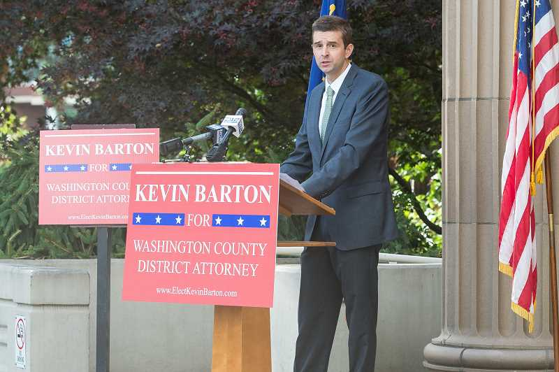 STAFF PHOTO: CHRISTOPHER OERTELL - Chief Deputy District Attorney Kevin Barton announces his candidacy for district attorney last fall. The normally quiet race is the latest in a series of challenging DA elections across the country aimed at electing more progressive candidates into office.