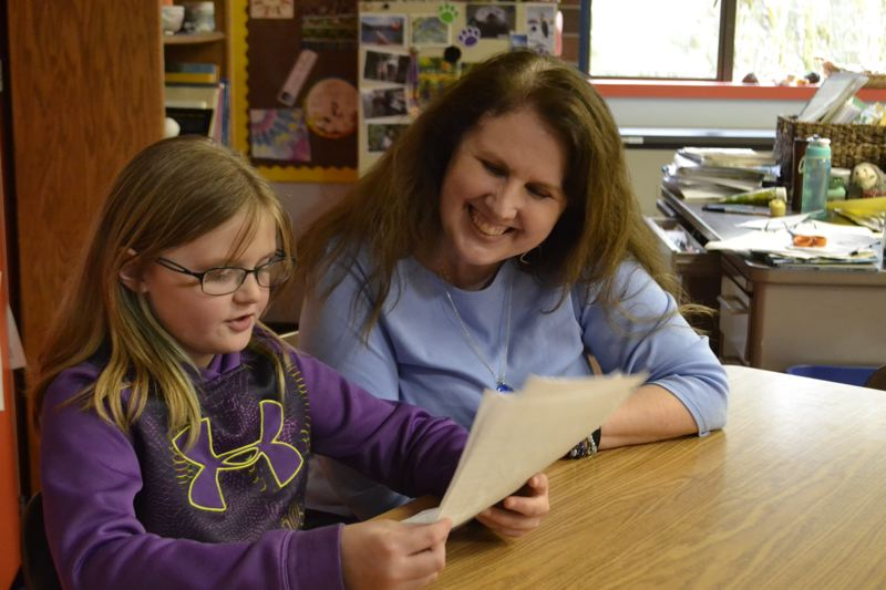 POST PHOTO: BRITTANY ALLEN - Kristine Nuivert teaches a combined class of third- and fourth-graders at Welches Elementary School.