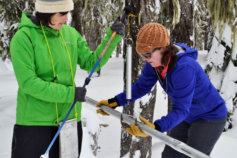 POST PHOTO: BRITTANY ALLEN - The 2017 SWE reading for the Mount Hood SNOTEL site, located on the grounds at Timberline Lodge, was around 41.4 inches.