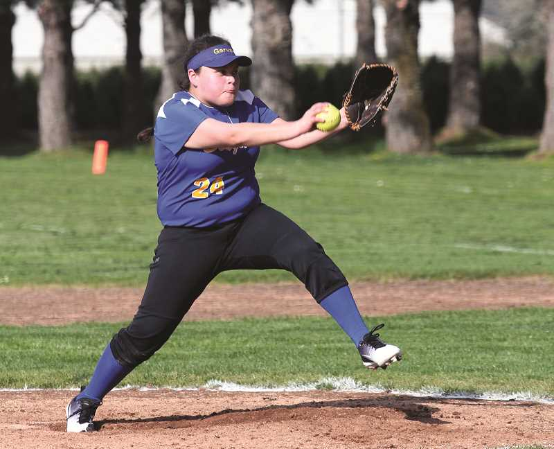 LINDSAY KEEFER - Freshman pitcher Marisol Ayala took the mound in the Cougars' 27-5 win over the Chemawa Braves last week.
