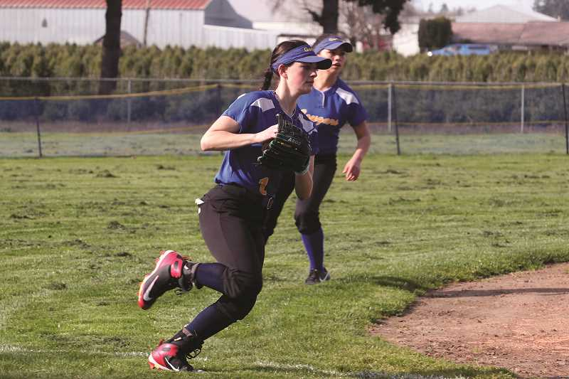 LINDSAY KEEFER - Gervais junior Abigail Saalfeld is one of 10 players returning from last year's softball team. Saalfeld joins teammates Veronica Esquivel and Regina Vargas as the team's top-returning players this year after earning all-conference honors in 2017.