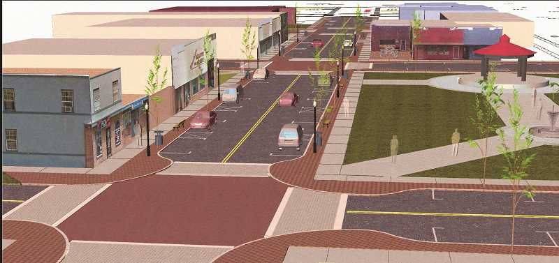 COURTESY RENDERING: CITY OF WOODBURN - First Street improvements would include brick pavers, landscaping and bulb-outs reminiscent of Front Street improvements from nearly a decade ago. If approved, the project is anticipated to start early next year.