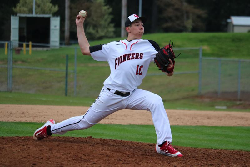 PAMPLIN MEDIA PHOTO: JIM BESEDA - Oregon City's Christian Mansfield pitched six innings and allowed two runs on five hits with two walks and two strikeouts in Tuesday's 8-2 home win over Centennial at Bauer Field.