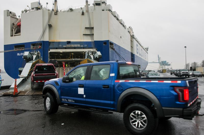 COURTESY: PORT OF PORTLAND - Shipped Ford tough. More American autos headed to Asia  through the Port of Portland in 2017  than in previous years.