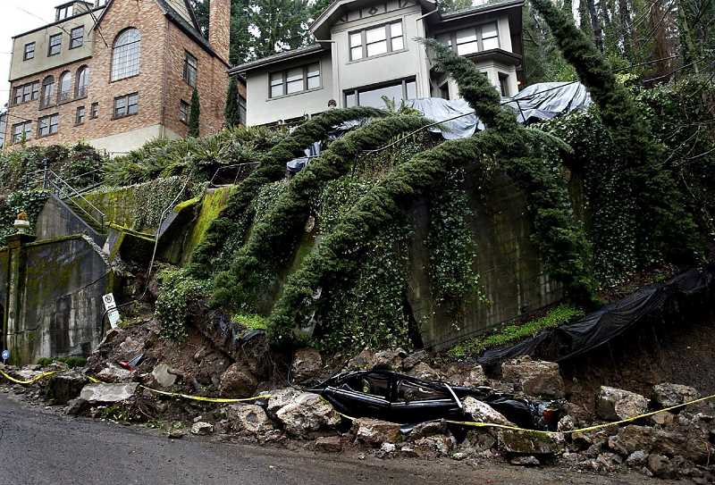 PAMPLIN MEDIA GROUP FILE PHOTO - Homeowners can begin to protect themselves from landslides by understanding how they work. This southwest Portland landslide occurred near a planned development.