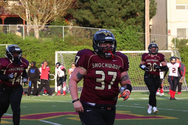 COURTESY: PORTLAND FIGHTING SHOCKWAVE - Jessica Gerdes returns at fullback for the Portland Fighting Shockwave, who compete in the Women's Football Alliance.