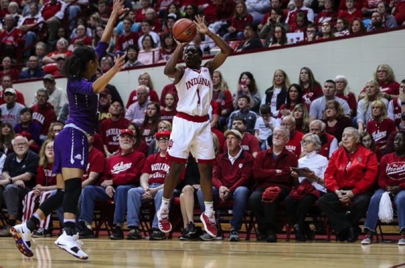 COURTESY: INDIANA UNIVERSITY - Indiana freshman Bendu Yeaney (right) was a big contributor to the Hooisers' WNIT champion womens basketball team.