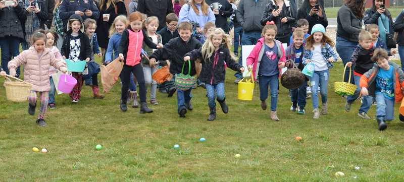 PIONEER PHOTO: CINDY FAMA - The kids are off and running at the Colton Community Easter Egg Hunt on Saturday, March 31.