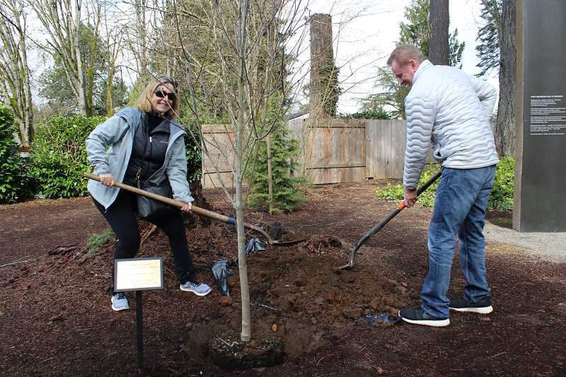 REVIEW PHOTO: ANTHONY MACUK - City Councilors Jackie Manz and Skip ONeill help plant a commemorative Starlight Dogwood in Stafford Grove Park on Monday in honor of Lake Oswego's 2018 Tree City of the Year award.