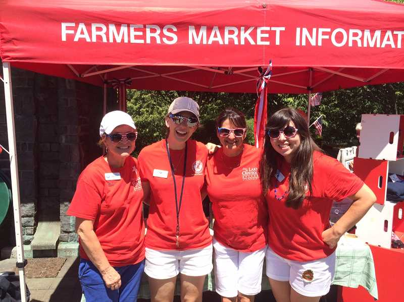 SUBMITTED PHOTO: JAMIE INGLIS  - Mary Kelly (from left), Madeline Marin-Foucher, Debbi Campnell and Jamie Inglis pose for a photo at the Lake Oswego Farmers Market.