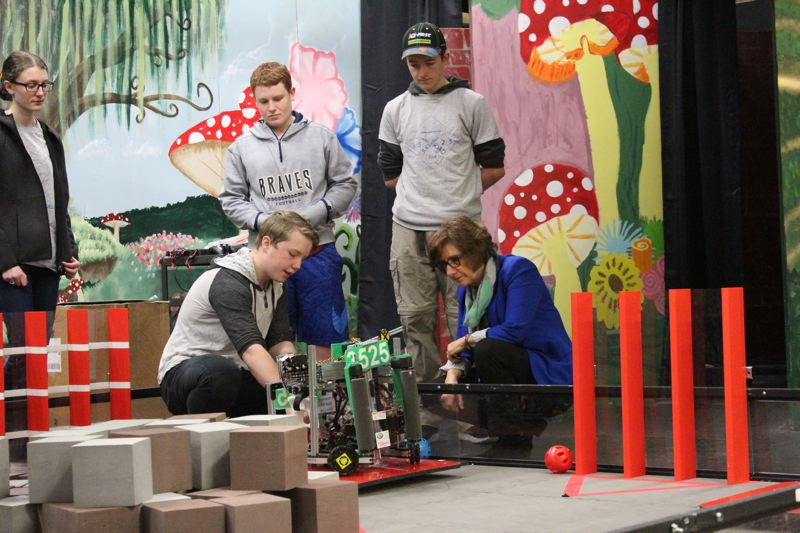 STAFF PHOTO: OLIVIA SINGER - Students showed Bonamici a robot they had built at Banks High School on Tueday, March 27.