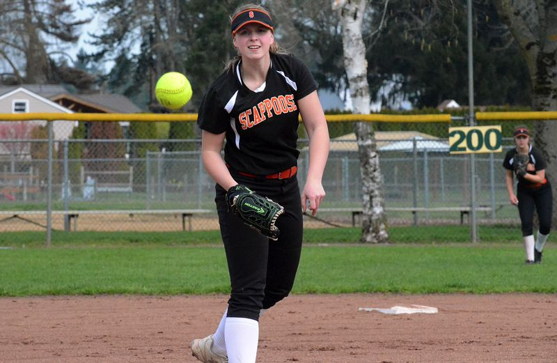 SPOTLIGHT PHOTO: TANNER RUSS - Scappoose senior pitcher Nicole Dougherty (shown here against North Marion on Saturday) and the Indians are off to a 9-2 start this season, including a 1-0 mark in the Cowapa League.