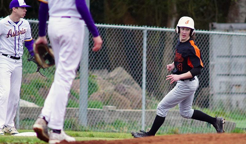 SPOTLIGHT PHOTO: ROBERT HILSON - Scappoose's Jerad Toman (shown here against Astoria on Tuesday) and the Indians bounced back with a 13-1 road win in their Cowapa League opener.