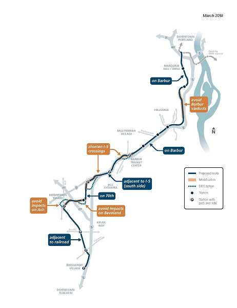 COURTESY OF CITY OF TIGARD - Heres what the current Initial Route Proposal for the Southwest Corridor for light rail looks like. The DEIS option is also known as the Through Ash to Railroad route.