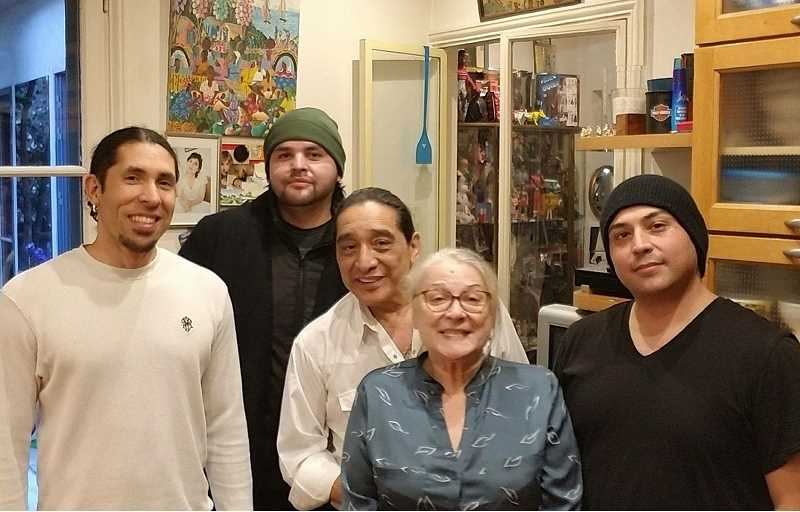 SUBMITTED PHOTO - LaRonn Katchia (second from left), formerly of Warm Springs, and Isaac Trimble (right), of Portland, had the opportunity to meet a famous French actress/director, Josiane Balasko, and her husband, Native American actor George Aguilar, originally from The Dalles, while in Paris. The meeting was set up by Sunny Techer, left.