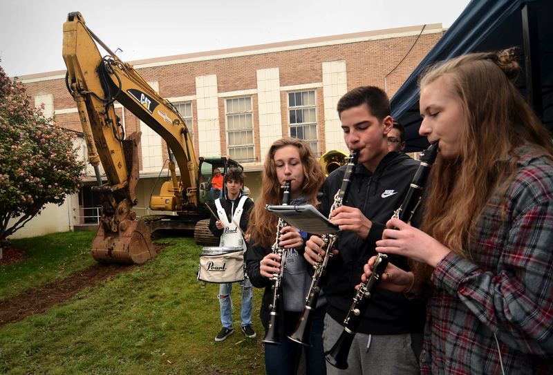 OUTLOOK PHOTO: VERN UYETAKE - The Gresham High pep band played a few numbers at the groundbreaking for the new school.