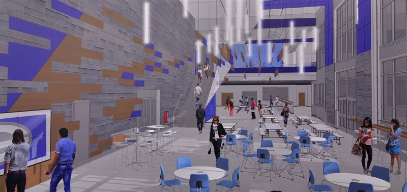 RENDERING COURTESY OF BLRB ARCHITECTS  - The light-filled commons area will replace a small space where students now gather to eat.