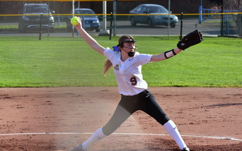 TIMES PHOTO: MATT SINGLEDECKER - Aloha junior pitcher Chole Smith fires a pitch toward the plate against Jesuit.