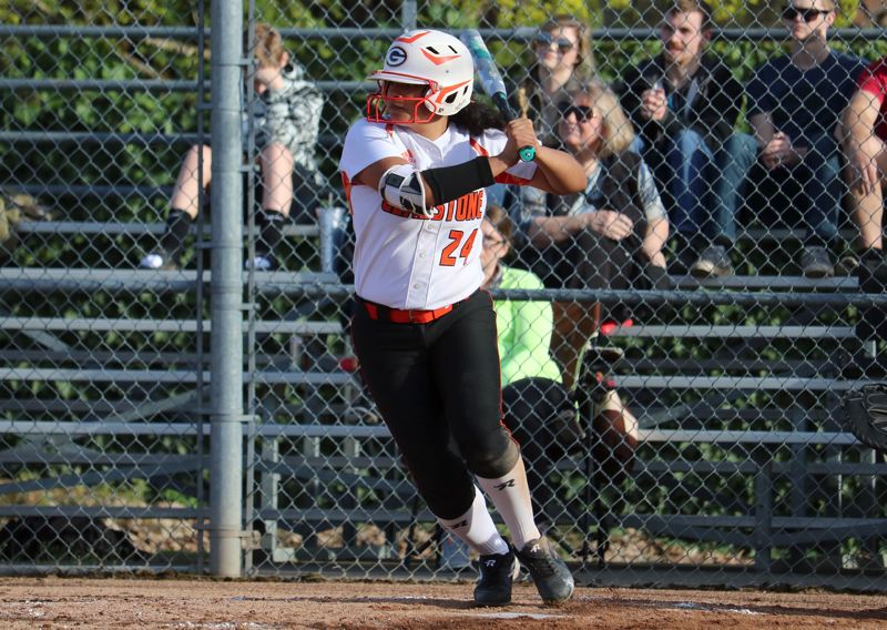 PAMPLIN MEDIA PHOTO: JIM BESEDA - Gladstone's Dessie Alvarado had three hits and scored three runs in Firday's 11-1 Tri-Valley Conference softball home win over Corbett.
