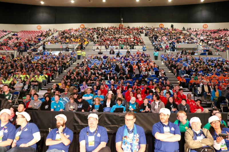 TRIBUNE PHOTO: ZANE SPARLING - An estimated 5,000 people attended the FIRST Robotics regional championship in Portland on April 7.