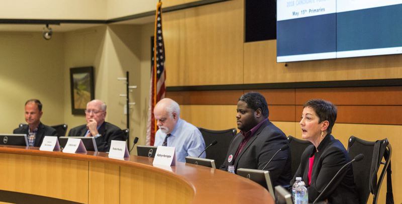 COURTESY OF RICK PAULSON PHOTOGRAPHY - The four candidates for Washington County board chair at a forum Thursday, April 5, at the Hillsboro Civic Center. From left: Ryan Deckert, Bob Terry, forum moderator Rob Solomon, Shabba Woodley, Kathryn Harrington.