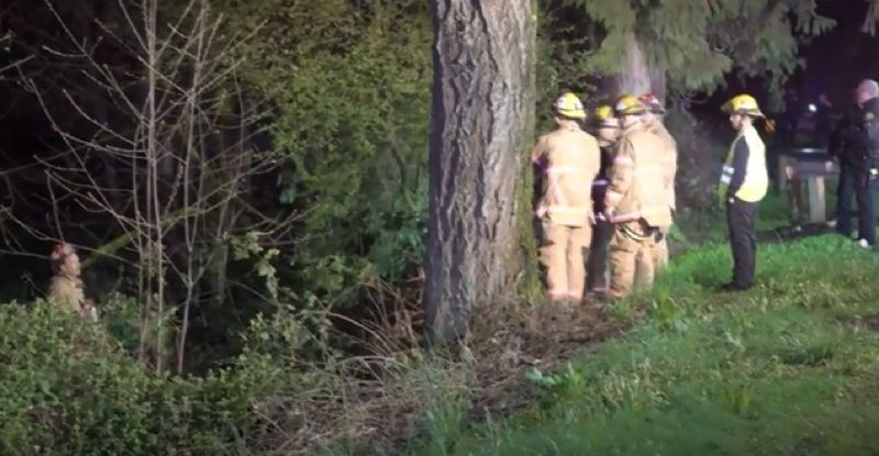 KOIN 6 NEWS - First responders find crashed Honda down embankment off Southeast Foster Road.