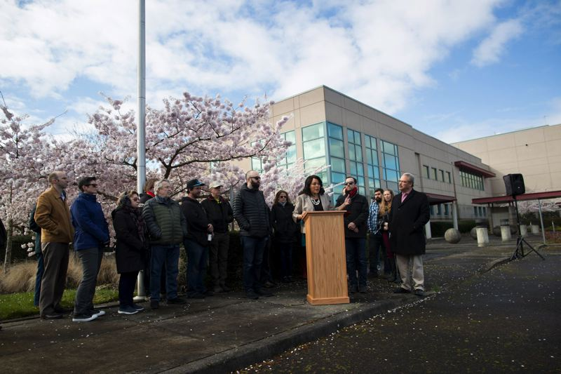 PORTLAND TRIBUNE: JAIME VALDEZ - Commissioner Loretta Smith called for the Wapato Corrections Facility to be used for the homeless during a press conference there on April 2.  Joining her were Old Town buisness owner Eric Bowler (left), Southeaast Portland business owner Gary Ayer (right), and State Sen. Lew Frederick (far right), who represents parts of North and Northeast Portland.