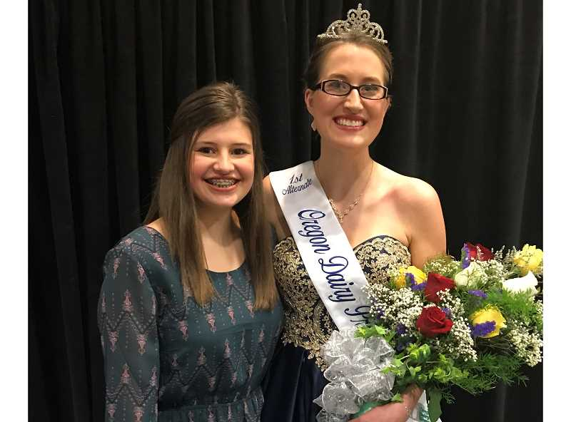 COURTESY: WASHINGTON COUNTY DAIRY WOMEN - Natalie Berry, left, is the new Washington County Dairy Princess-Ambassador. She took over the post from Megan Sprute, right, who went on to become First Alternate Oregon StateDairy Princess-Ambassador.