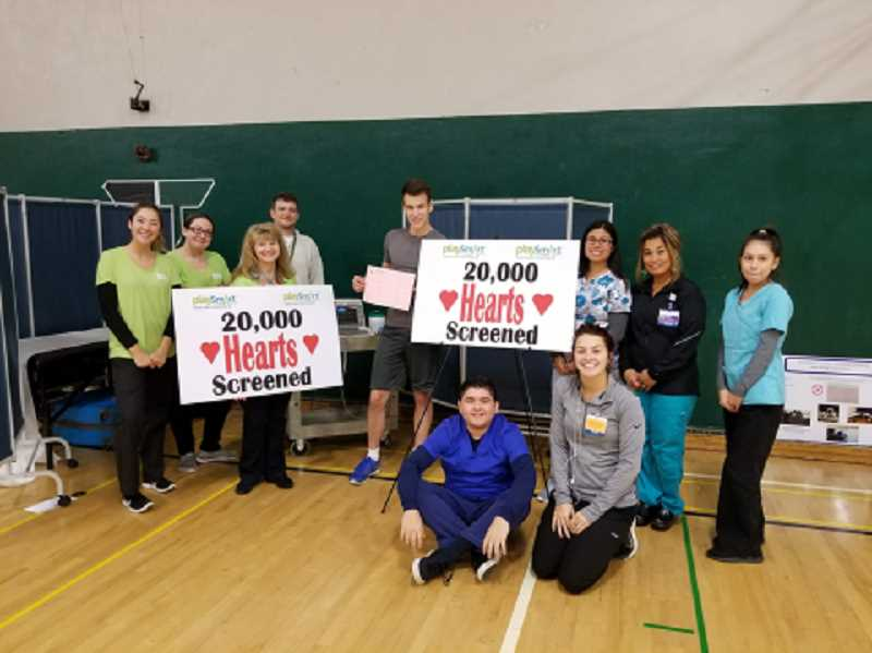 SUBMITTED PHOTO: LYDIA HIBSCH - In November, 2017, Play Smart hit 20,000 hearts screened at Tigard High School.