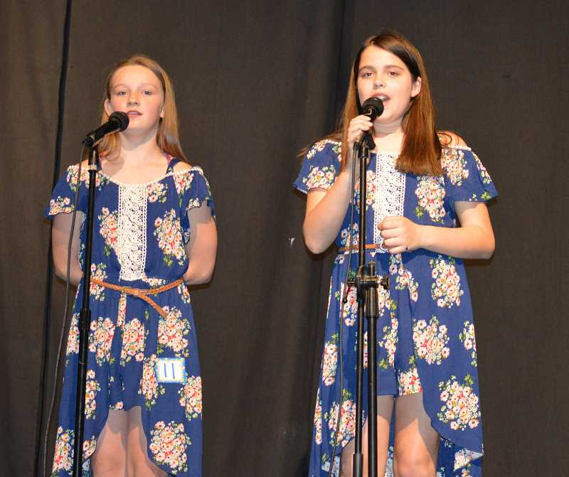 PIONEER PHOTO: CINDY FAMA - Amanda English and Taylor Quintana sing 'Legends' at Stars on Stage in Colton.