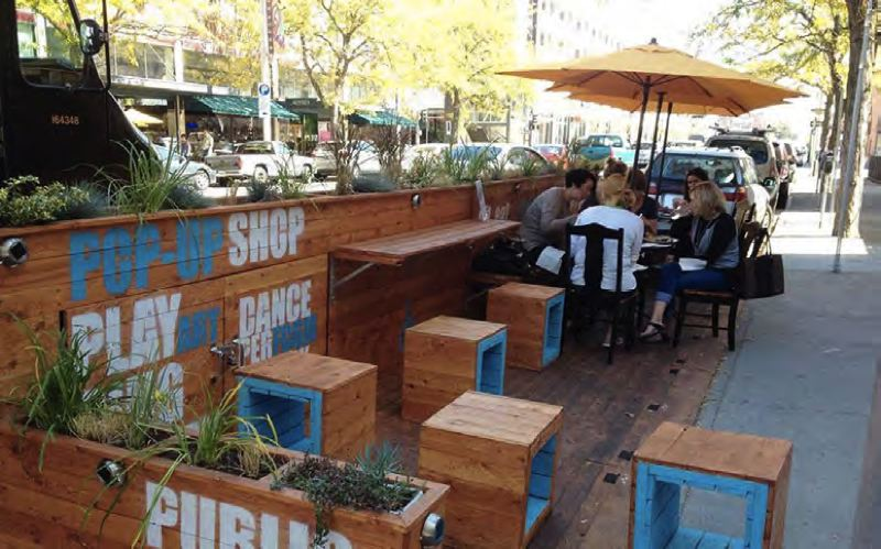 COURTESY PHOTO: CITY OF FOREST GROVE - Bryan Pohl, Forest Grove's community development director, suggested that the city could create temporary 'parklets' like this one along city streets to improve the downtown streetscape in summertime.