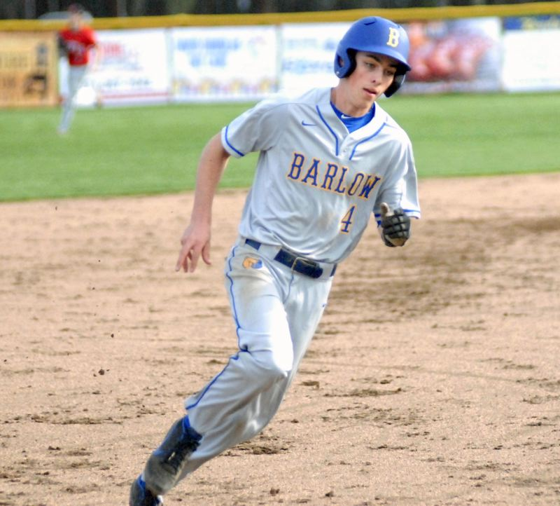 GRESHAM OUTLOOK: MATT RAWLINGS - Barlow's Stuart Weber rounds third and heads for home in the Bruins 6-2 win over David Douglas.